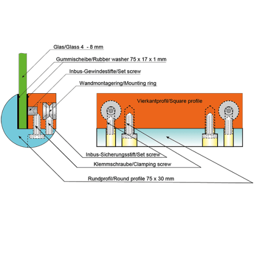 kerekített ConFix6 szorító táblatartó szerkezete